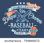 baseball kids team  league... | Shutterstock .eps vector #754840072
