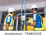 engineers training in the...   Shutterstock . vector #754841335