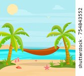 hammock in a tropical paradise | Shutterstock .eps vector #754843552