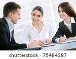 business man explaining a new... | Shutterstock . vector #75484387
