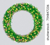 christmas wreath with colourful ... | Shutterstock .eps vector #754847236