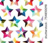 rainbow stars seamless vector...   Shutterstock .eps vector #754850098