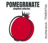 whole pomegranate design juicy... | Shutterstock .eps vector #754854766
