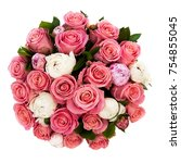 a bouquet of many two color... | Shutterstock . vector #754855045