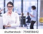 portrait of successful... | Shutterstock . vector #754858642