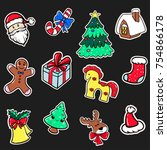 set of christmas stickers vector | Shutterstock .eps vector #754866178