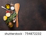 herbs and spices on stone table.... | Shutterstock . vector #754872232