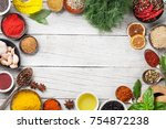 various spices and herbs frame... | Shutterstock . vector #754872238