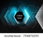 digital techno abstract... | Shutterstock .eps vector #754873255