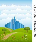 summer landscape. nature... | Shutterstock .eps vector #75487417