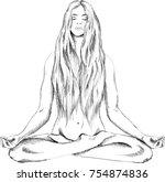 the vector logo a naked girl... | Shutterstock .eps vector #754874836