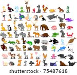 extra large set of animals | Shutterstock .eps vector #75487618