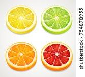 citrus slices realistic. lemon  ... | Shutterstock .eps vector #754878955