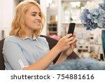 happy beautiful young woman... | Shutterstock . vector #754881616
