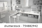 total white project of modern...   Shutterstock . vector #754882942