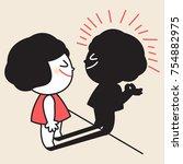 girl looking and trust in her... | Shutterstock .eps vector #754882975