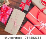 red and brown gift box with a... | Shutterstock . vector #754883155