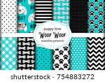 Stock vector cute set of seamless patterns with hand drawn cartoon characters of dog footprints and bones 754883272