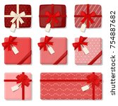 red present isolated. gift... | Shutterstock .eps vector #754887682