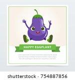 cute humanized aubergine... | Shutterstock .eps vector #754887856