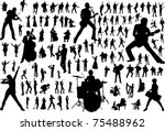 black silhouettes of musicians. ...