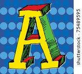 pop art alphabet  hand drawn... | Shutterstock .eps vector #75489595