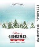 christmas landscape postcard ...   Shutterstock .eps vector #754896835