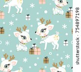 seamless pattern with cute ... | Shutterstock .eps vector #754897198