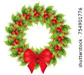christmas wreath with red bow ... | Shutterstock .eps vector #754901776