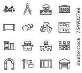 thin line icon set   bridge ... | Shutterstock .eps vector #754902766