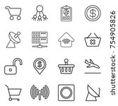 thin line icon set   cart ... | Shutterstock .eps vector #754905826
