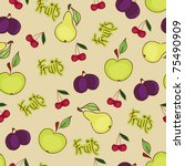 seamless fruit wallpaper | Shutterstock .eps vector #75490909
