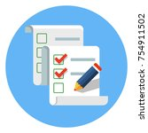 checklist with pencil | Shutterstock .eps vector #754911502