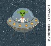 cartoon alien in flying saucer   Shutterstock .eps vector #754913245