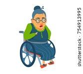 elderly lady sitting in...   Shutterstock .eps vector #754913995