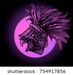 griffin in iron armor with... | Shutterstock .eps vector #754917856