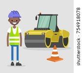 young black engineer wearing...   Shutterstock .eps vector #754918078