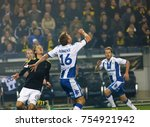 Small photo of SOLNA SWEDEN - OCT 30, 2017: Soccer player in the game AIK and IFK Gothenburg waiting to nick the ball. October 30 2017,Solna,Sweden