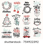 holiday set of christmas doodles | Shutterstock .eps vector #754922392