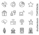 thin line icon set   call ...