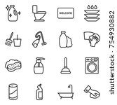 thin line icon set   cleanser ... | Shutterstock .eps vector #754930882