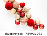 christmas baubles. flat lay ... | Shutterstock . vector #754931092