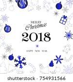 merry christmas holiday vector | Shutterstock .eps vector #754931566