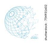 broken wireframe sphere....   Shutterstock .eps vector #754931602