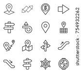 thin line icon set   pointer ... | Shutterstock .eps vector #754932262