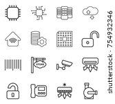 thin line icon set   chip ... | Shutterstock .eps vector #754932346