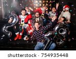 christmas party.sitting... | Shutterstock . vector #754935448