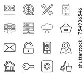 thin line icon set   money ... | Shutterstock .eps vector #754936546
