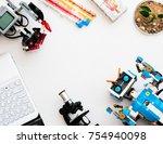 Small photo of November, 2017. Minsk, Belarus. STEM education. Lego Boost Robot Vernie VS Lego Mindstorms EV 3 Wally. Robotics class for child and teen. School. Mathematics. Mock up. Chemistry.