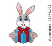 cute cartoon rabbit with a gift ... | Shutterstock .eps vector #754941478
